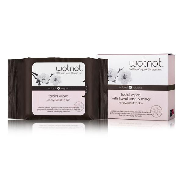 Natural Face Wipes for Dry and Sensitive Skin - Travel Case with Mirror 25pk