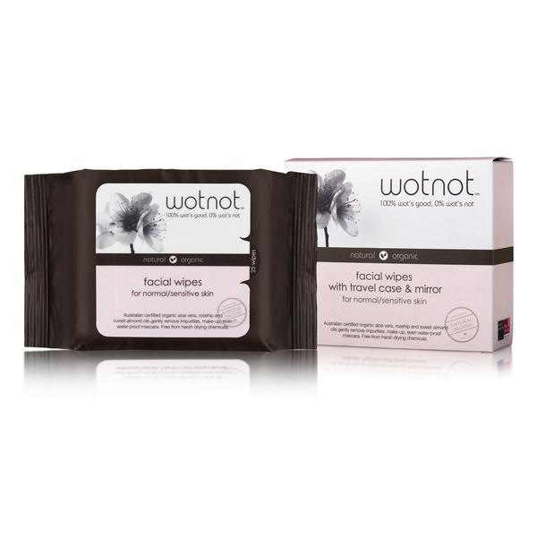 Natural Face Wipes for Normal and Sensitive Skin - Travel Case with Mirror 25pk