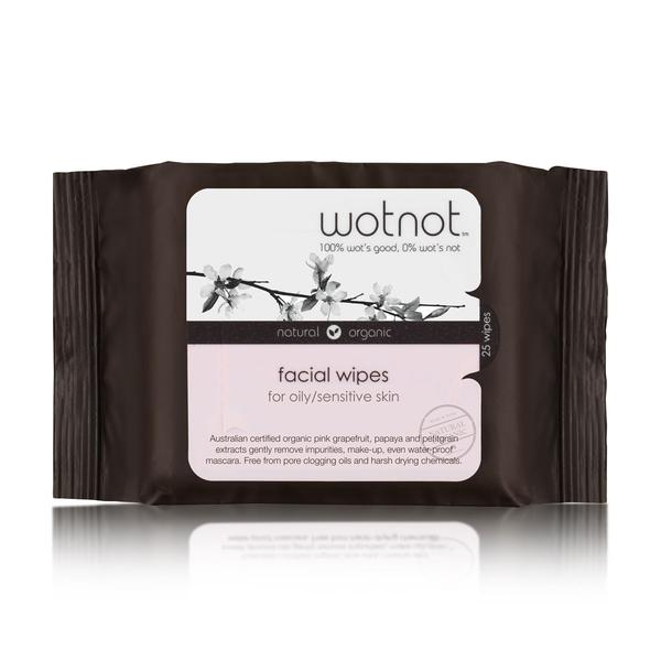 Wotnot Natural Face Wipes for Oily and Sensitive Skin 25pk